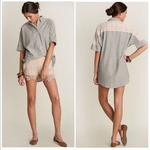 Short Sleeve Button Down Blouse with Lace Details